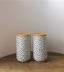 SALE white/black dot cannisters