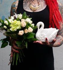 flower posy & swan