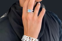 Aquamarine Ring & Stg. Silver Bracelet