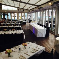 A classic set-up for approximately 100 persons wedding reception on the main deck