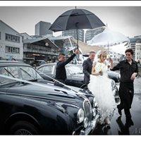 Beautiful Jessica arriving by Jaguar Daimlers.