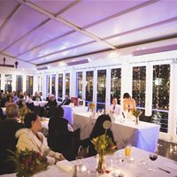 Another type of layout with only the bride and groom seated on the bridal table. Beautiful mid-winter wedding! :)
