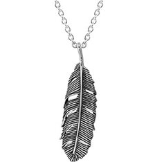 Huia Feather Necklace (Oxidised)