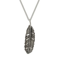Huia Feather Single Pendant (oxidised)