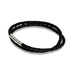 Black Double Twist Leather Bracelet