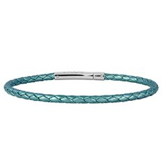 Teal Single Twist Leather Bracelet