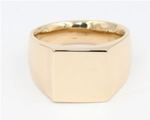 Square gold signet ring