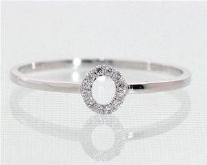 Petite halo oval ring