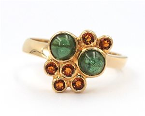 Green tourmaline and citrine ring