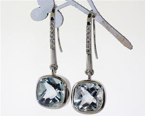 Aquamarine checkerboard earrings