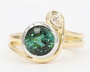 Green tourmaline and diamond
