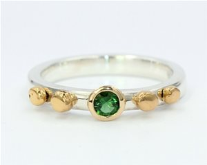 Green Tsavorite and 24ct gold