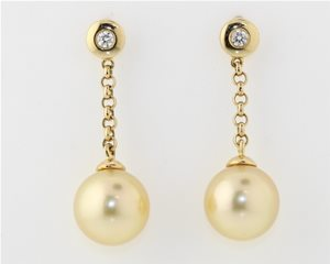 Yellow pearl drop earrings