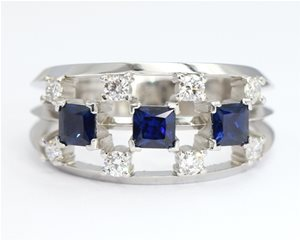 Sapphire and diamond 11 stone