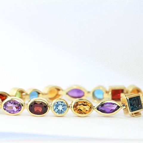 Coloured gemstone bracelet