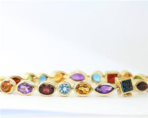 Coloured gemstone bracelet
