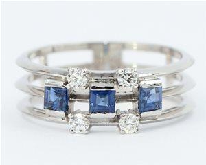 Sapphire and diamond 7 stone