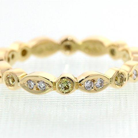 Marquise yellow and white diamond band