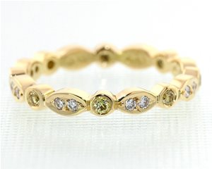 Marquise yellow and white diamond band