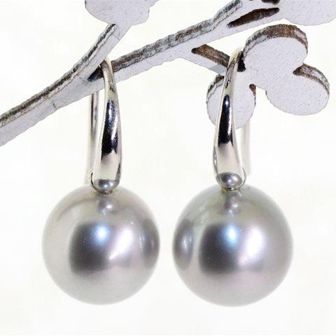 Silver pearl hook earrings