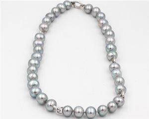 Silver pearl and link necklace