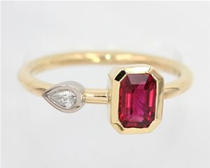 Ruby and pear diamond