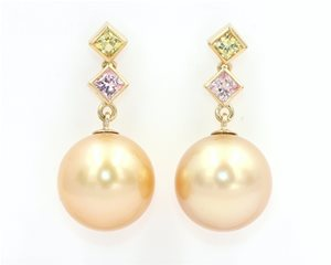 Sapphire and gold pearls