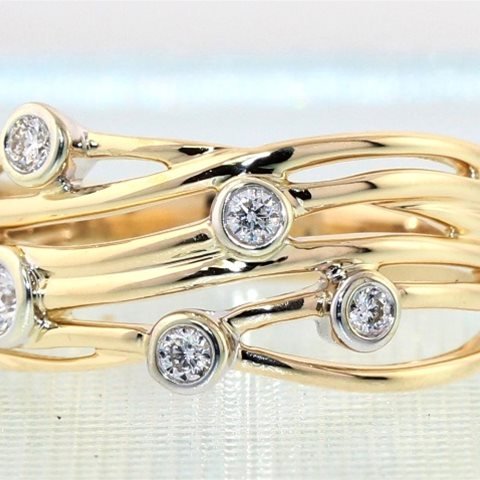 Six row Five diamond yellow band