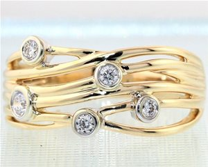 Six row Five diamond yellow band