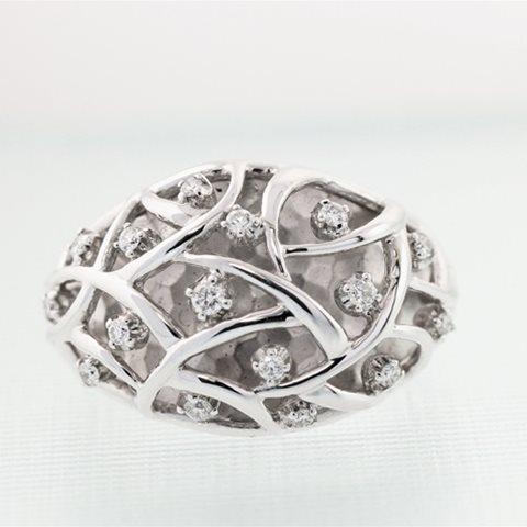 Domed Diamond weave ring