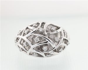Domed Diamond weave ring