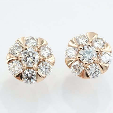 Diamond rose gold clusters