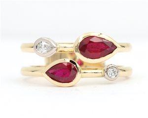 Pear ruby ring