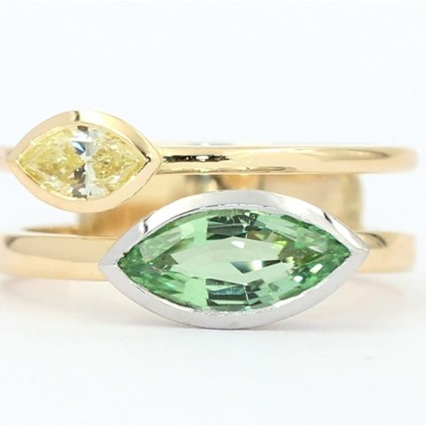 Yellow and green marquise