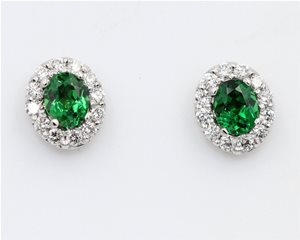 Tsavorite and diamond earrings