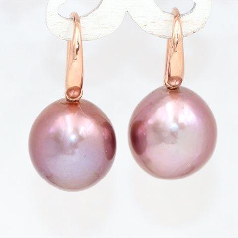 Dark pink drop pearls