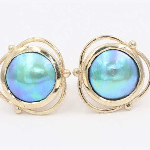 Paua pearl studs