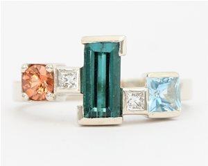 Topaz and Aquamarine ring