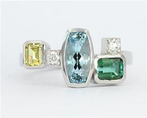 Aquamarine multi coloured ring